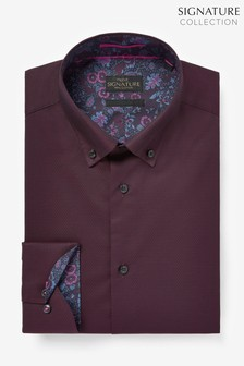 Burgundy Slim Fit Single Cuff Signature Trimmed Shirt