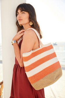 Orange/Natural Stripe Rope Shoulder Bag