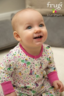 Frugi GOTS Organic Pink Fairy Sleepsuit With Turn Back Scratch Mitts