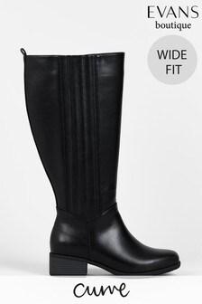 Evans Curve Wide Fit Black PU Boots