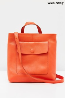 White Stuff Orange Mimi Leather Convertible Bag