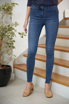 Mid Blue Power Stretch Denim Leggings