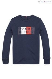 Tommy Hilfiger Blue Global Stripe Graphic Long Sleeve T-Shirt