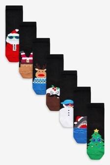 Black 7 Pack Christmas Character Socks (Older)