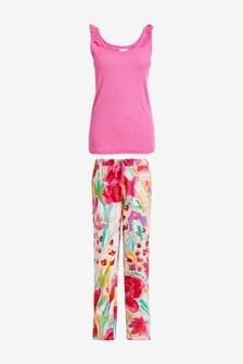 Cream Floral Cotton Blend Pyjama Vest Set