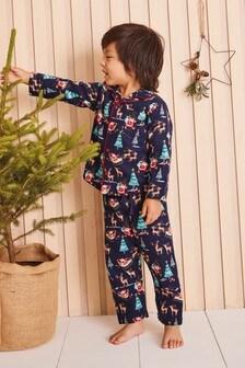 Navy Christmas Button Through Pyjamas (9mths-8yrs)