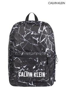 Calvin Klein Black Marble Print Packable Backpack