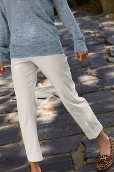 Ecru Cotton Twill Taper Trousers