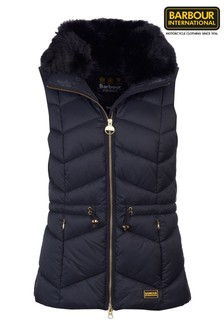Barbour® International Black Faux Fur Collar Gilet