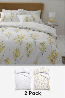 2 Pack Ochre Bee Happy Floral Duvet Cover And Pillowcase Set