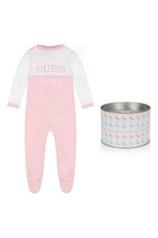Girls Pale Pink Cotton Babygrow