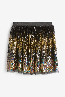 Black Party Sequin Skirt (3-16yrs)