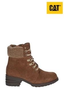 CAT® Lifestyle Brown Cora Faux Fur Lace-Up Boots