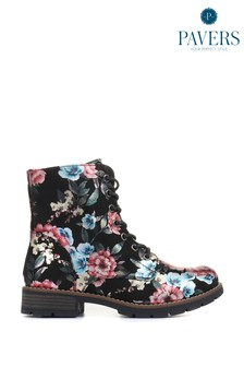 Pavers Black Pink Floral Ladies Lace-Up Ladies Ankle Boots