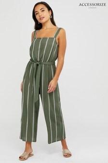 Accessorize Green Khaki Stripe Jumpsuit