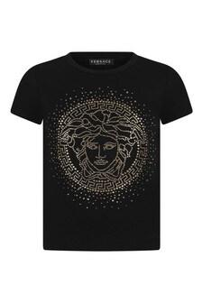 Girls Black/Gold Cotton T-Shirt