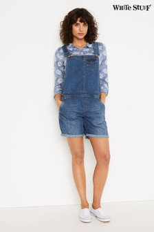 White Stuff Blue Shorts Denim Dungarees