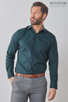 Teal Texta Floral Regular Fit Single Cuff Signature Trimmed Shirt