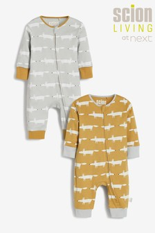Ochre Scion Living At Next Mr Fox Footless Sleepsuits 2 Pack (0mths-3yrs)