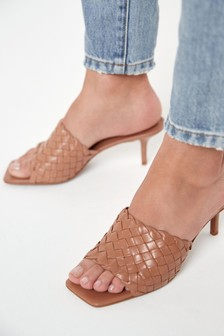 Camel Signature Leather Weave Mules