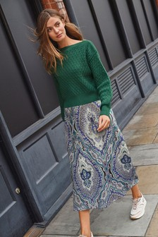 Dark Green Layered Jumper Dress