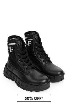 Boys Black Leather Logo Boots
