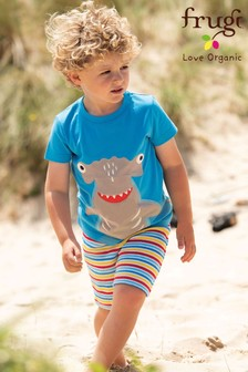 Frugi Blue GOTS Organic Rainbow Stripe Towelling Comfy Shorts