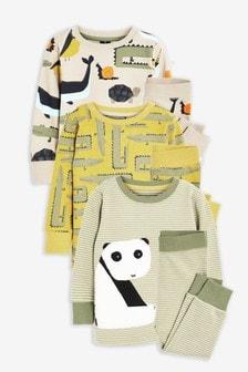 Khaki 3 Pack Panda Snuggle Pyjamas (9mths-8yrs)