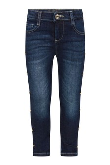 Girls Blue Denim Studded Heart Jeans