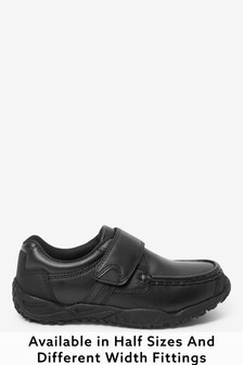 Black Extra wide (H) Leather Single Strap Shoes (Older)