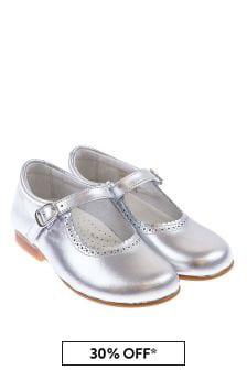 Girls Metallic Silver Scalloped Edge Mary Jane Shoes
