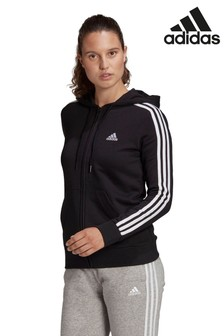 adidas 3 Stripe Zip Through Hoodie