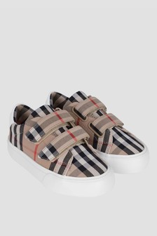 Kids Vintage Check And White Mini Markham Trainers