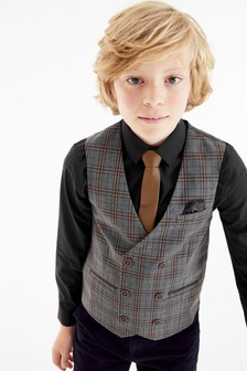 Grey/Brown Double Breasted Check Waistcoat, Shirt And Tie Set (12mths-16yrs)