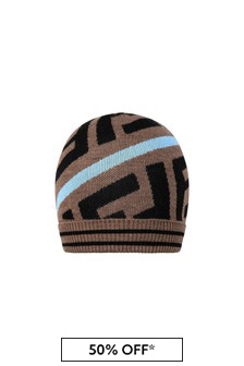 Kids Brown/Red Wool Logo Hat