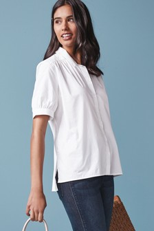 White Short Sleeve Cotton Shirt