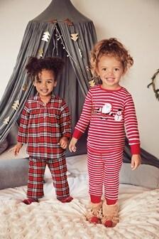 Red Christmas Appliqué Stripe Cotton Pyjamas (9mths-8yrs)
