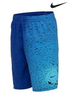Nike Blue Shark Print 8 Inch Swim Shorts