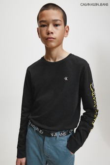 Calvin Klein Black Repeat Logo Long Sleeve T-Shirt