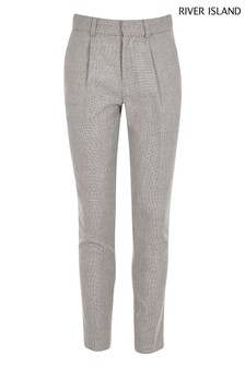 River Island Grey Pleat Tapered Joy Trousers
