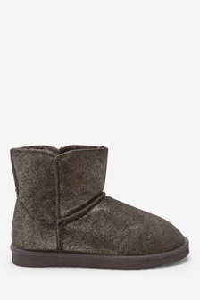 Black Sparkle Suede Slipper Boots