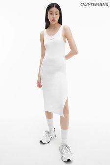 Calvin Klein Jeans White Strappy Rib Dress