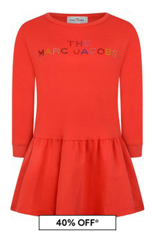 Girls Red Cotton Logo Dress