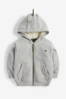Grey Dino Spike Cosy Lined Zip Through (3mths-7yrs)