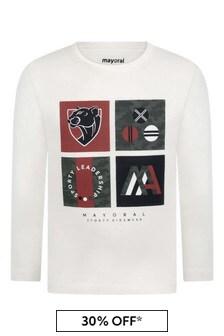 Boys Ivory Cotton Jersey Long Sleeve T-Shirt
