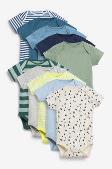 Teal 10 Pack Short Sleeve Bodysuits (0mths-3yrs)