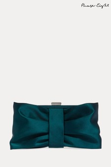 Phase Eight Green Meaghan Satin Bow Clutch Bag
