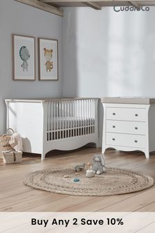 Ash Cuddleco Clara 2pc Set Cot Bed and 3 Drawer Dresser and Changer