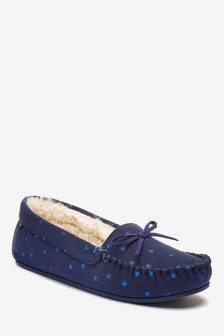 Navy Star Moccasin Slippers