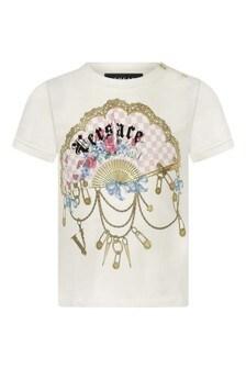 Baby Girls Ivory Cotton Jersey T-Shirt